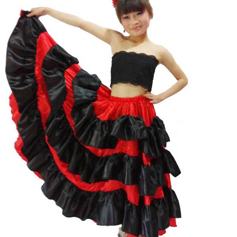 Costume espagnol fille longue robe de style flamenco rouge jupe de salon pour filles enfant robes de danse noire costumes pour enfants vêtements