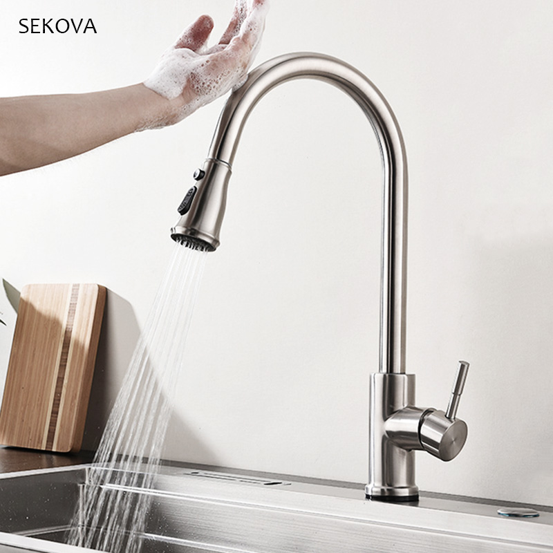 Stainless Steel Brushed Touch Sense Control Kitchen Faucet Pull Out Sink Mixer Water Tap ware Double