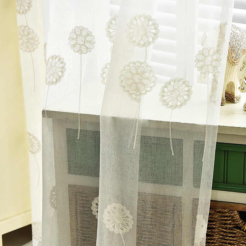 刺繍ボイルカーテン用リビングルームキッチン白チュール用windowsカーテン子供ルーム子供ベッドルームテキスタイル用ホーム