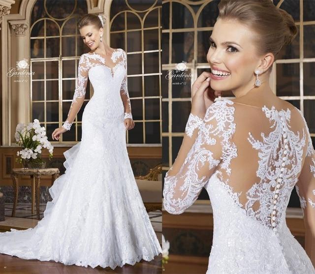 Sexy Mermaid Wedding Dresses 2017 Romantic Lace Beading Bride Dresses Button Back Long Sleeve Vestido De Noiva Court Train Hot