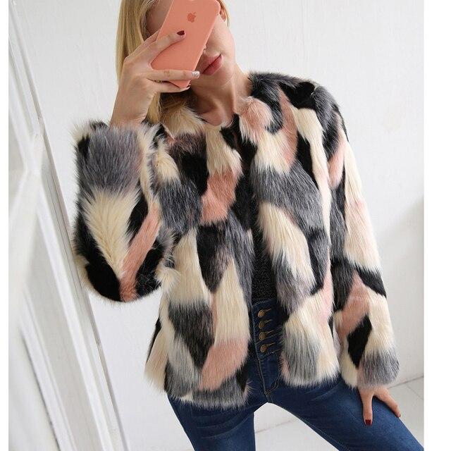 c5f0a0bc94b ZADORIN 2018 NEW Colorful Boho Faux Fur Coat Plus Size Women Pink Fur Coats  Bohemian Autumn
