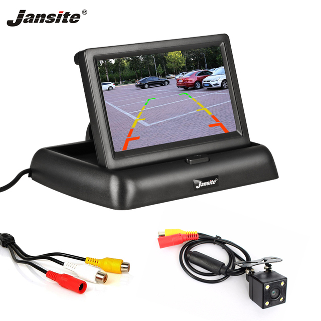 Jansite 4.3 بوصة مراقب السيارة القابل للطي TFT شاشة الكريستال السائل كاميرات عكس كاميرا نظام صف سيارات ل سيارة الرؤية الخلفية شاشات NTSC PAL