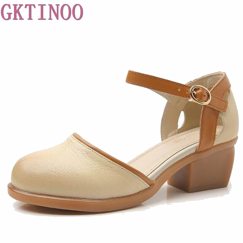 GKTINOO Gladiator Woman Sandals 2018 Summer style Casual 100% Genuine Leather Sandals Woman Platform Thick heels women shoes недорого