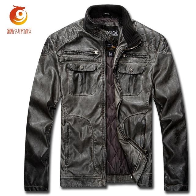 Vintage Мужчины Пальто Кожаная Куртка Ретро PU Мужская Кожаная Куртка плюс Размер Мотоцикл Зимняя Куртка Мужчины Пальто Chaqueta Cuero Moto