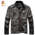 Vintage Men Overcoat Leather Jacket Retro PU Men Leather Jacket plus Size Motorcycle Jacket Winter Men Coats Chaqueta Moto Cuero