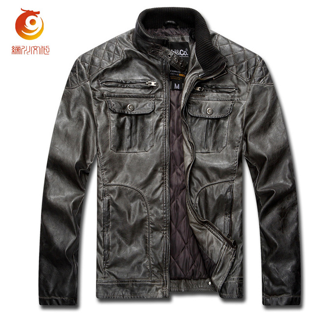 Vintage Men Overcoat Leather Jacket Retro PU Men Leather Jacket plus Size Motorcycle Jacket Winter Men Coats Chaqueta Moto Cuero