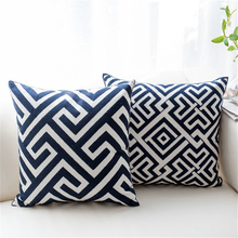 Home Decor Embroidered Cushion Cover Blue Navy Geometric Plaid Pattern Canvas Cotton Pillowcase Decorative Throw Pillow Covers