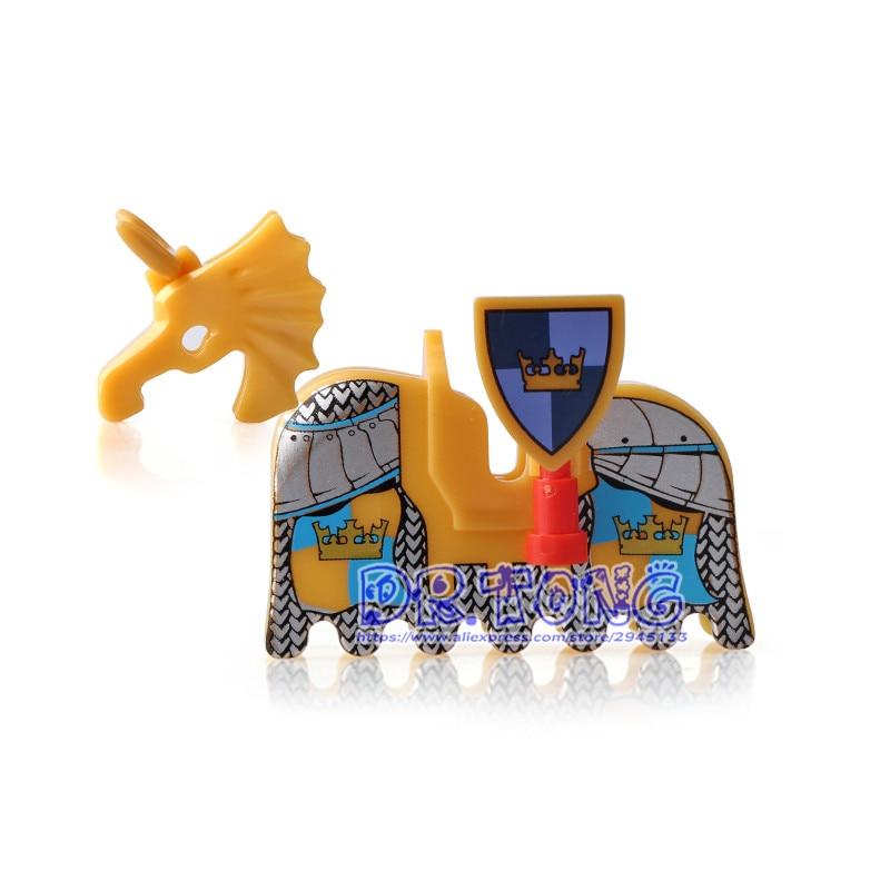 DR TONG Single Sale AX9822 Medieval Castle Knights War Horse Saddle Armour Building Blocks Bricks Toys