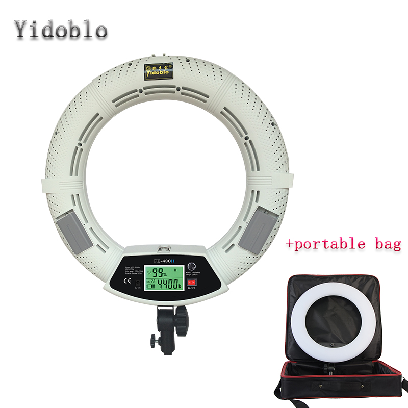 Yidoblo FE-480II White Photo Studio LED Ring Light + Portable bag LCD Screen Lamp RC Photographic Lighting 5500K 480LED Lights