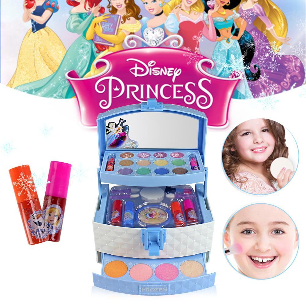 32Pcs Disney Three-layer Makeup Case Toy Set Mini Portable Play Ice Princess Girls Cosmetics Toy Lipstick For Children Kid