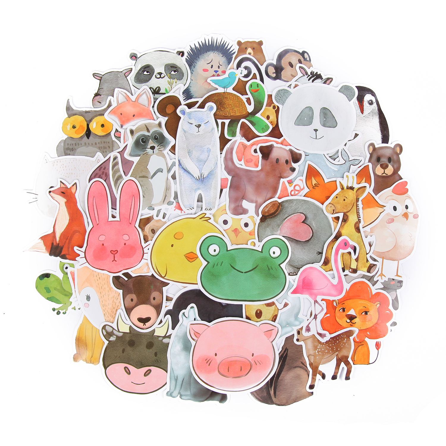 TD ZW 50pcs/lot Waterproof Super Cute Cartoon Animal Stickers For Car Laptop Phone Pad Bicycle Decal Kids Gift Cat Pig Dog
