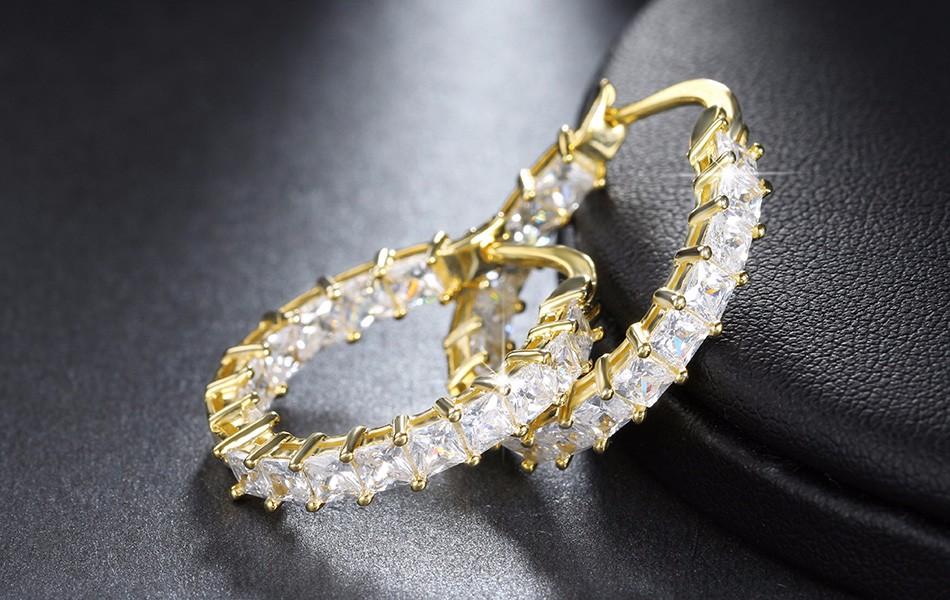 Effie Queen Big Round Hoop Female Earring Eternity Style with Shiny Zircon Bar Setting Luxury Earrings for Women Wholesale DE144 7