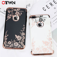 Funda Ottwn para iPhone X 7 8 6 6s Plus chapado de moda Rosa oro negro blanco duro PC funda posterior para móvil para iPhone X XR Xs Max(China)