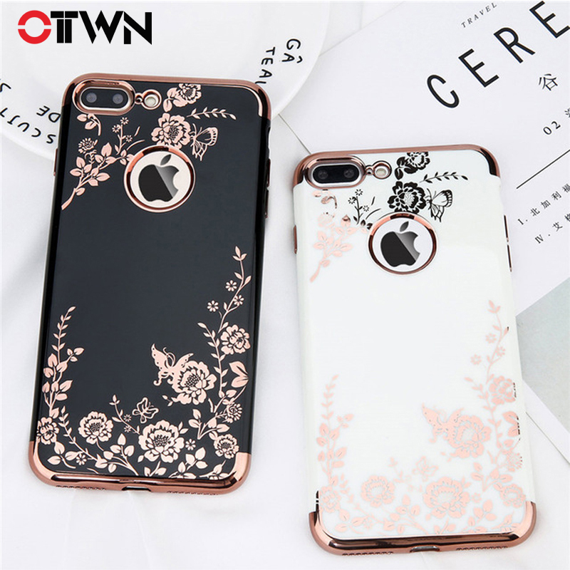 Ottwn Case For iPhone X 7 8 6 6s Plus Fashion Plating Rose Gold Black White Hard PC Phone Case Back Cover For iPhone X XR Xs Max