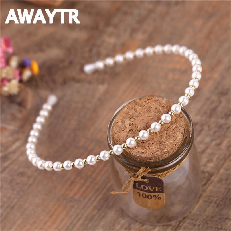 AWAYTR Fashion Pearl Rhinestone Rhombus Geometry Pattern Hair Hoop for Women Romantic Black Silver Gold Headband Tiara Jewelry