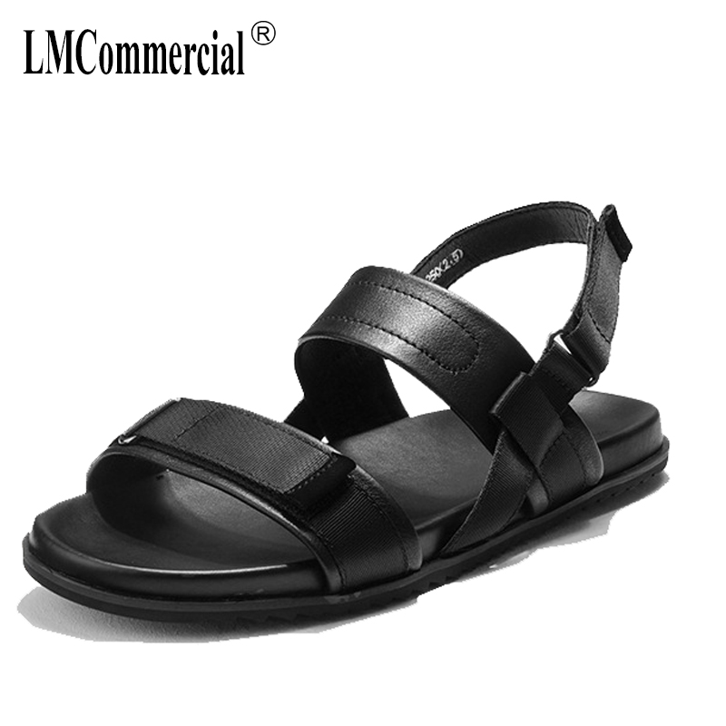 summer men's Genuine leather beach casual shoes Sneakers Men Slippers Flip Flops outdoor anti-skid Rome sandals male cowhide 2017 hot sale mens casual sandals summer leather anti skid men flip flops fashion genuine leather outdoor cool slippers original