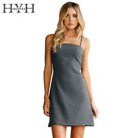 HYH HAOYIHUI Hollow Out Sleeveless Strap Dress Bow Tie Back Navy Blue Vestidos De Fiesta Summer