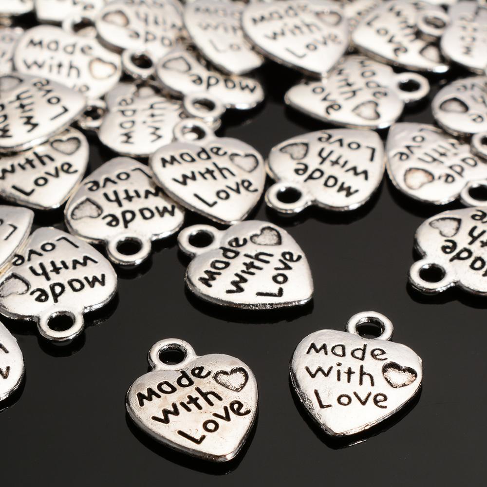 100 unids/set moda Metal plata encanto hecho con amor corazón cuentas para collar con dijes DIY pulseras dijes BAMOER, nueva llegada, Plata de Ley 925, auriculares de oreja de gato, colgante, pulsera de encanto para mujer, joyería de cuentas DIY SCC441