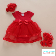 0 - 18 Months Baby Girls Summer Dress Red Pink White Clothing Birthday Baby Dress Infantil 3 Piece/set Children Clothing(China)