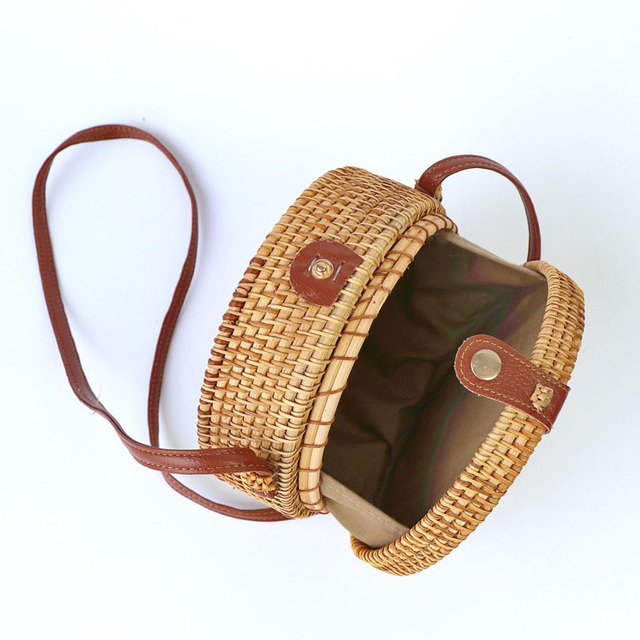 Vintage Handmade Women Rattan Bag Straw Woven Shoulder Bags Bow Holiday Beach Bohemia Crossbody Messengers Handbag round bolsa 4