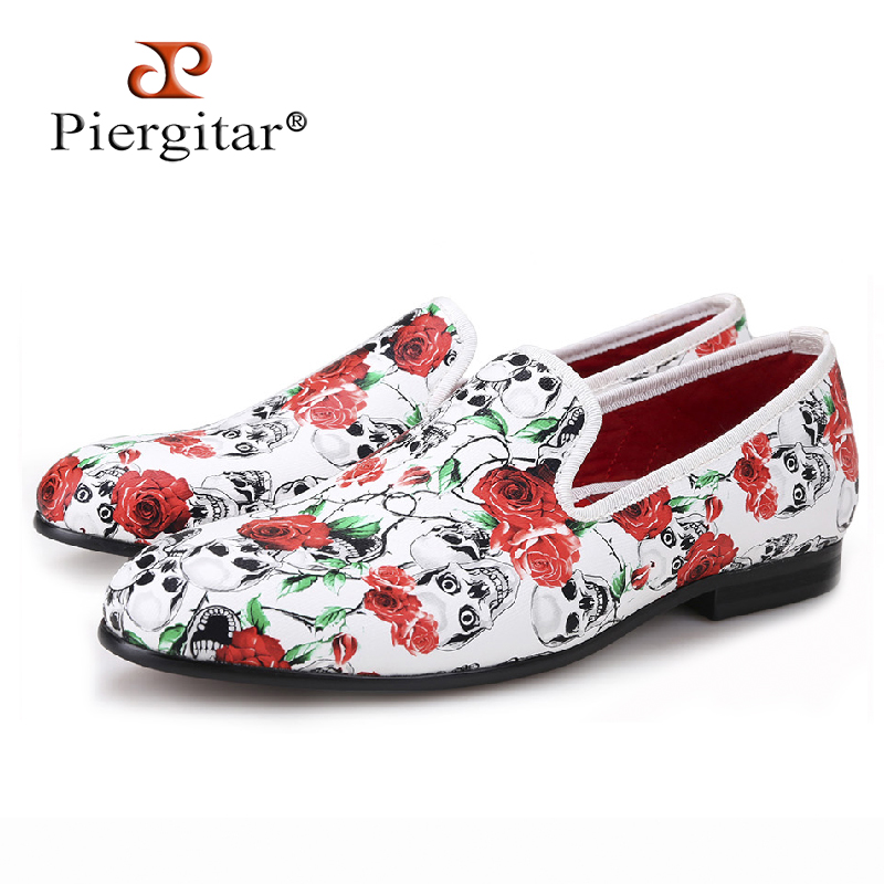 Piergitar 2017 New style Skull and Flowers Prints white color men shoes Fashion men smoking slipper Wedding Party men's loafers stylish tiny flowers print wedding casual party white tie for men