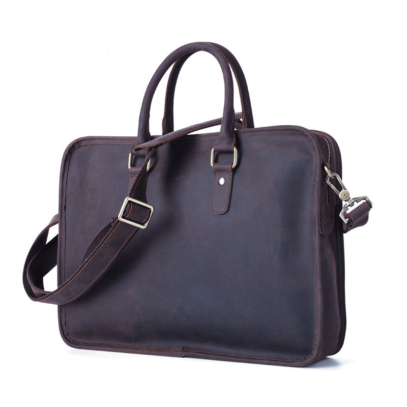 Famous Brand Fashion Casual Business Men Leather Briefcase Bag Trendy Solid Leather Mens Handbag Simple Men Bag New new casual business leather mens messenger bag hot sell famous brand design leather men bag vintage fashion mens cross body bag
