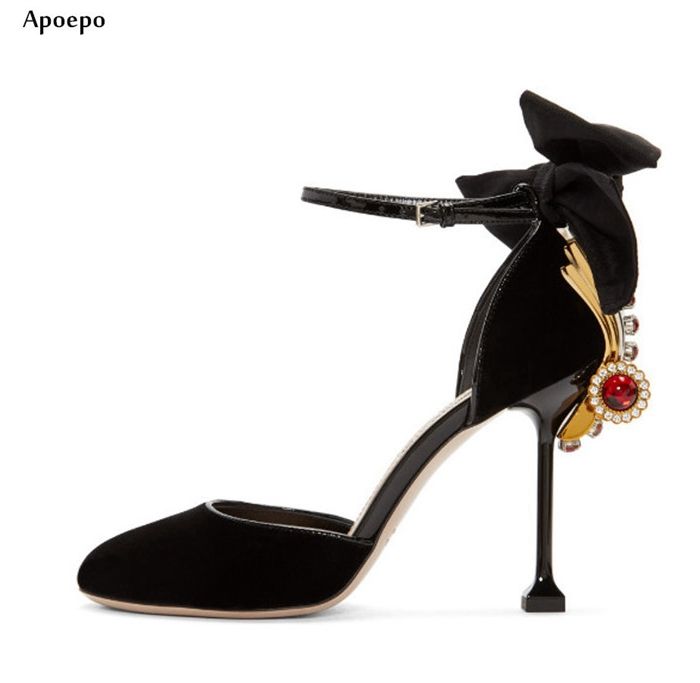 New Crystal Embellished Butterfly-knot High Heels Round Toe Ankle Strap Rhinestones Wedding Shoes Woman Sexy Dress Pumps недорго, оригинальная цена