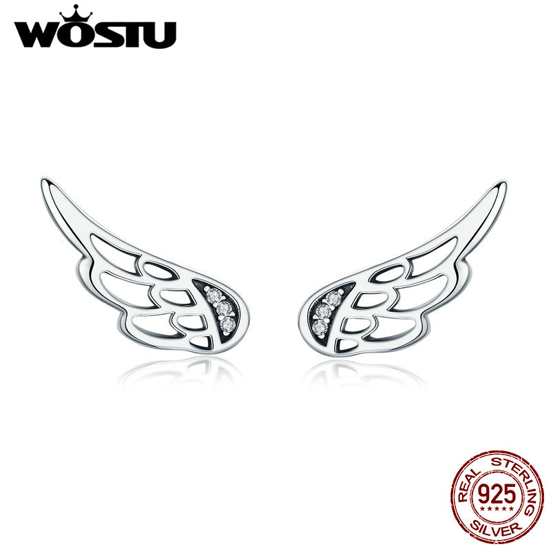 Feathers stud earrings WOSTU Original Design Real 925 Sterling Silver Fairy Wings Feathers Stud  Earrings for Women S925 Silver Jewelry Gift CQE343
