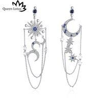 1654a4af8dda Queen Lotus Women Long Tassel Big Drop Earrings Moon Sun Asymmetric  Earrings Crystal Jewelry Ethnic Baroque