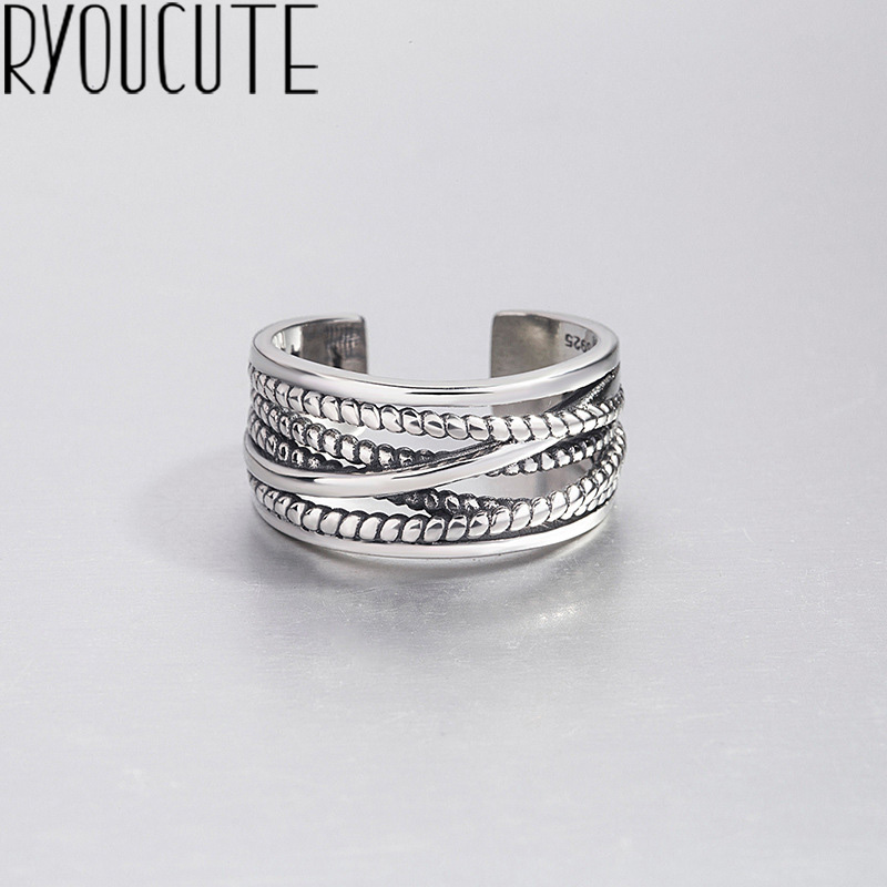 Multilayer-Ring Adjustable Real-925-Sterling-Silver Women Boho S925 Fashion for Anillos