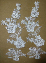 10 Pieces Floral Sequined Lace Applique Mirror Glitter Hair Accessory Wedding Dress Fabric Bridal Veil