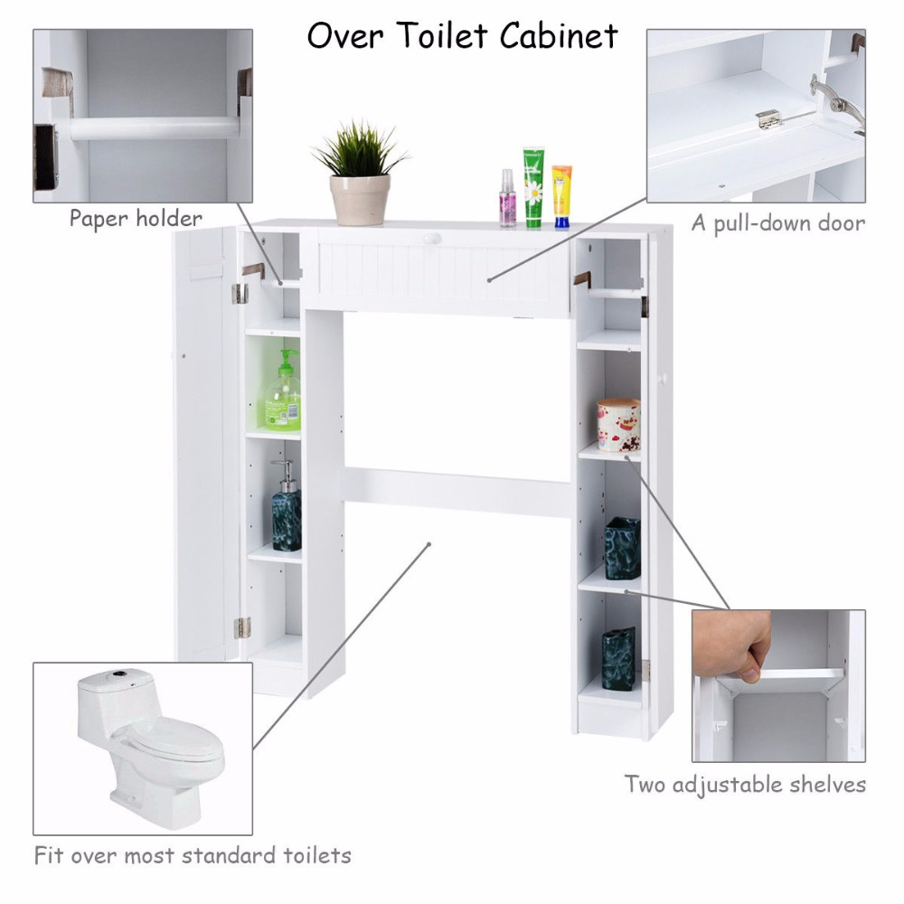 Giantex Wooden White Shelf Over The Toilet Storage Cabinet Drop Door Spacesaver Modern Bathroom Cabinets Home Furniture HW56628
