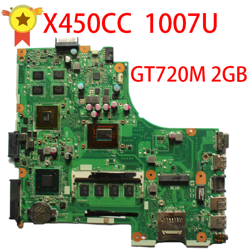 Laptop Motherboard For Asus X450CC x459cc F450V With 1007u CPU Non-Integrated Mainboard 8 Memory REV2.3 HM76 GT 720M Tested ytai 1007u processor for asus x200ca laptop motherboard hm70 usb3 0 rev 2 1 with 1007u 4g ram mainboard fully tested