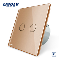 Livolo EU Standard Golden Crystal Glass Panel EU Standard VL C702R 13 Wall Light Remote Switch