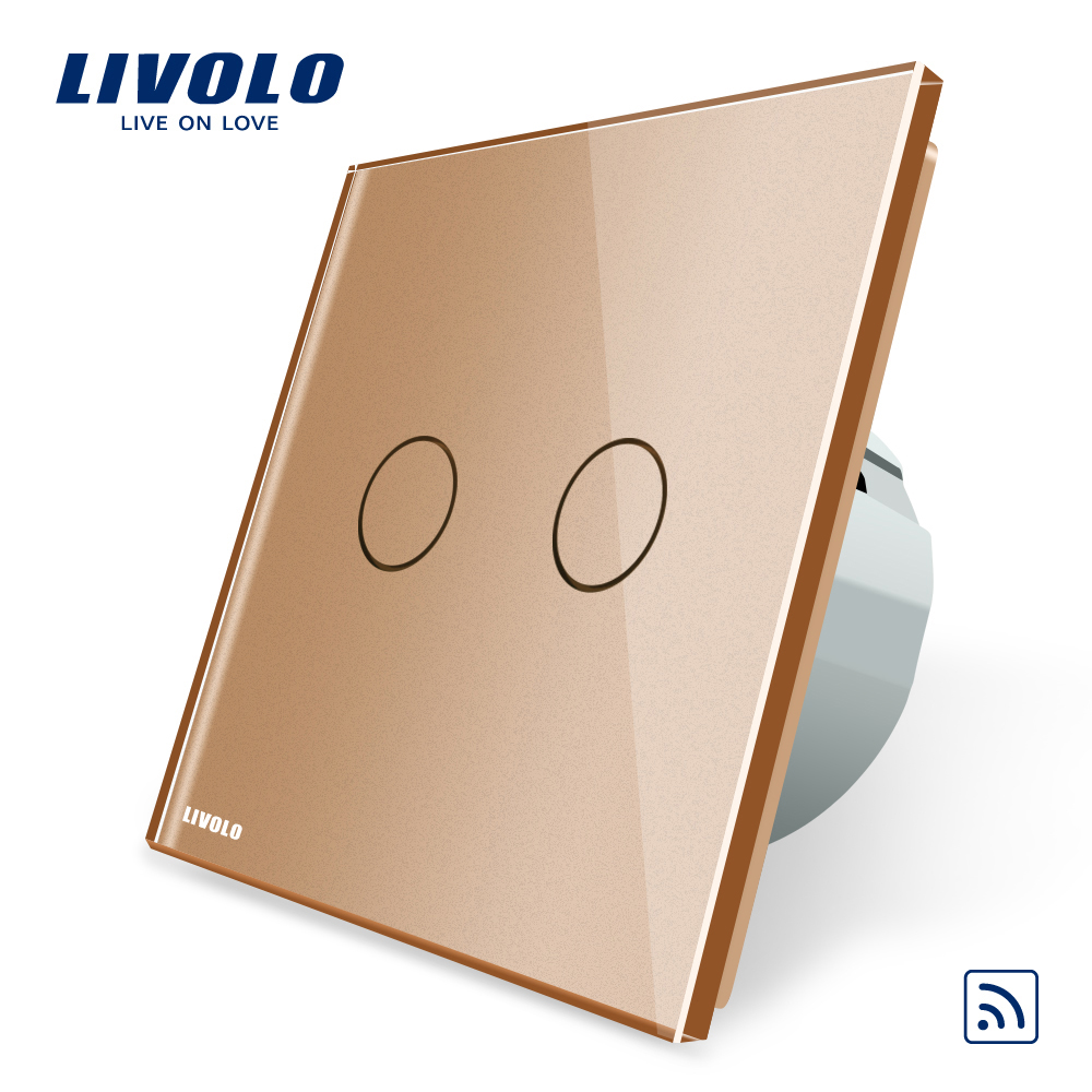 Livolo EU Standard,Golden Crystal Glass Panel, AC 220~250V ,VL-C702R-13,Wall Light Remote Switch,No Mini Remote livolo eu standard touch timer switch ac 220 250v vl c701t 32 black crystal glass panel wall light 30s time delay switch