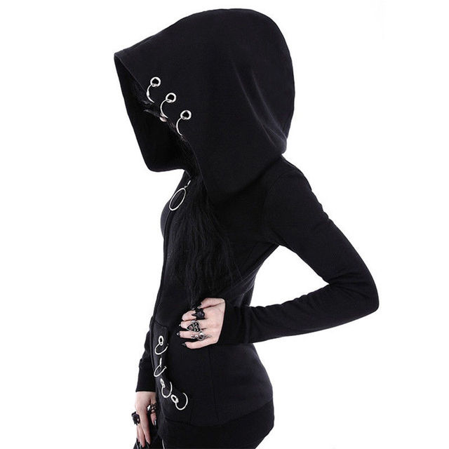 d46c13ad97a Gothic Punk Women Hoodies With Rings Loose Big Hood Winter Autumn Black  Long Sleeve Sweatshirt Zipper