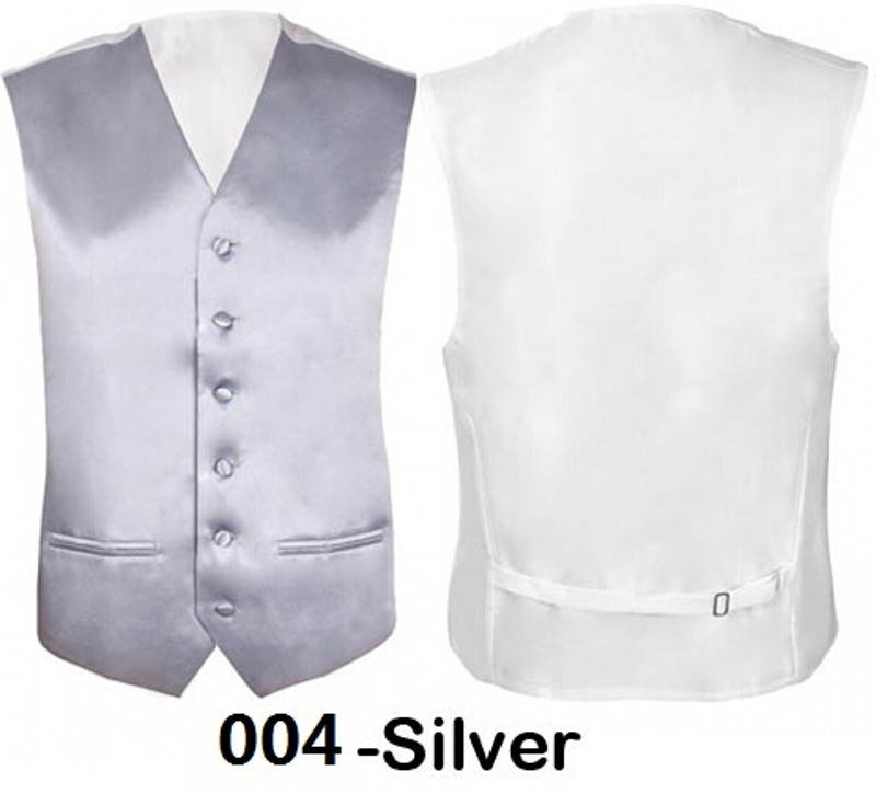Brand New Silver Mens Slim Fit Coletes Homem Vest Wedding Groomsmen Formal Waistcoat Groom Solid Color For Wedding Party