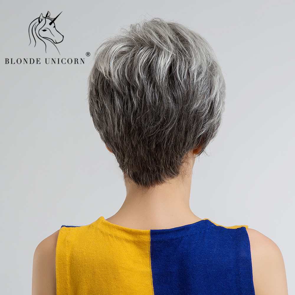 Us 25 19 30 Off Blonde Unicorn Fluffy Pixie Cut Short Hair Wigs Ash Gray Black Ombre Highlights 30 Human Hair Wig With Side Bangs Free Shipping In