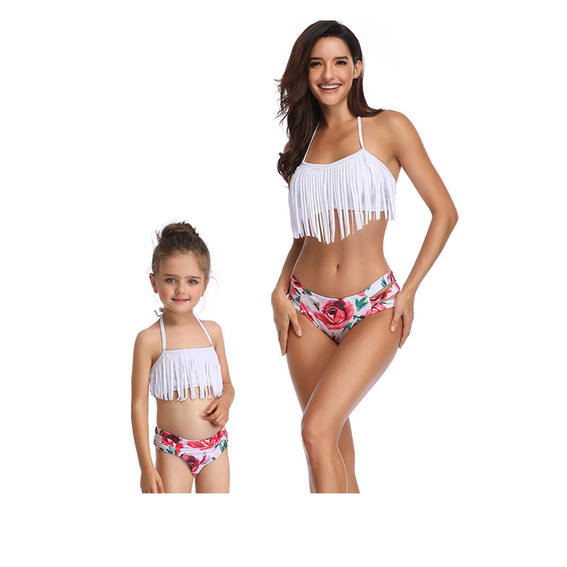 Family Matching Swimwear Mother Daughter Taseel Bikini Bathing Suit Brachwear Swimwear Family Matching Outfits Mom Kids Swimsuit (4)