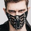 Steampunk Esqueleto Remaches de Cuero de La Motocicleta Máscaras para Hombres Mujeres de Halloween Gothic Punk Negro Cráneo Del Partido Media Cara Máscaras de Cosplay