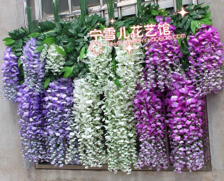 Fleurs de Simulation, fleurs décoratives en plastique ficelle de canne de vigne verte de glycine en gros
