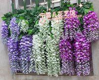 Simulation flowers, plastic decorative flowers green vine cane cane string of wisteria douban wholesale