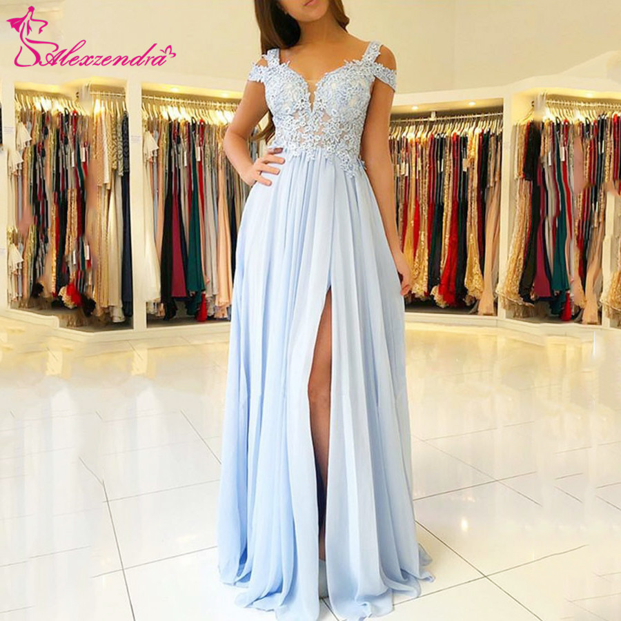Alexzendra Blue Chiffon Off the Shoulder   Prom     Dresses   Plus Size Applique A Line Formal Evening   Dresses   Party   Dress   Customize