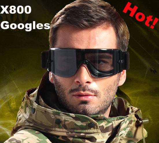 Tactical x800 windproof thickening US military Tactical antifog Storm Sun Glasses Goggles eye Glasses 3 Lens
