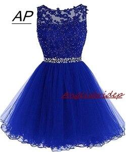 Image 1 - ANGELSBRIDEP Sexy krótkie/Mini sukienki na powrót do domu 2020 z aplikacje z koralikami Vestidos Cortos specjalna okazja sukienki ukończenia szkoły