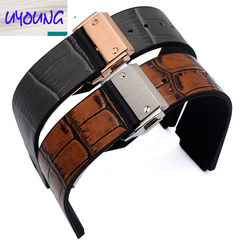 25mm*19mm (lug) men's blue brown garyleather+ Rubber Alligator Pattern Watch Band Strap with Deployment Buckle CLASP For BRAND стоимость