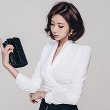 2017 New Fashion OL Formal Blouse White Black Zipper Deep V Slim Bottoming Shirt Female Korean Chiffon Tops Women Blouse Blusas