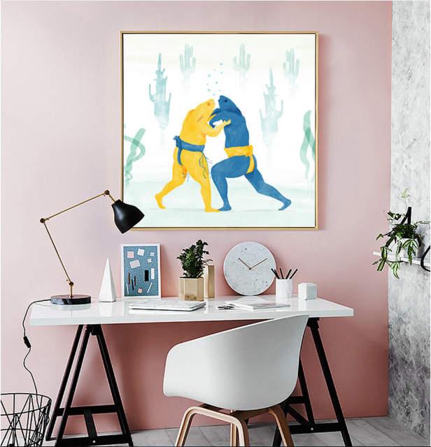 Gaya Nordic Freehand Sketsa Sumo Katak Dekoratif Lukisan Gambar Dinding 2 Pieces Kanvas Tidak Dibingkai