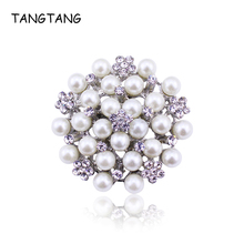 TANGTANG Pearl Brooches Classic Mothers Brooch Pin Rhinestone Petal Silver Tone Scarf Pins Jewelry Flower