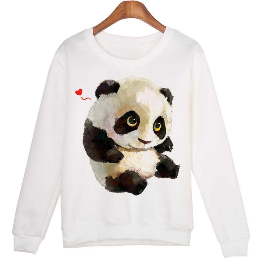 Милая толстовка с животными sudaderas mujer с принтом панды Harajuku толстовки Kwaii Moleton пуловеры WMH29